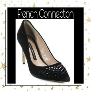 French Connection Black Suede Studded Heels 7.5